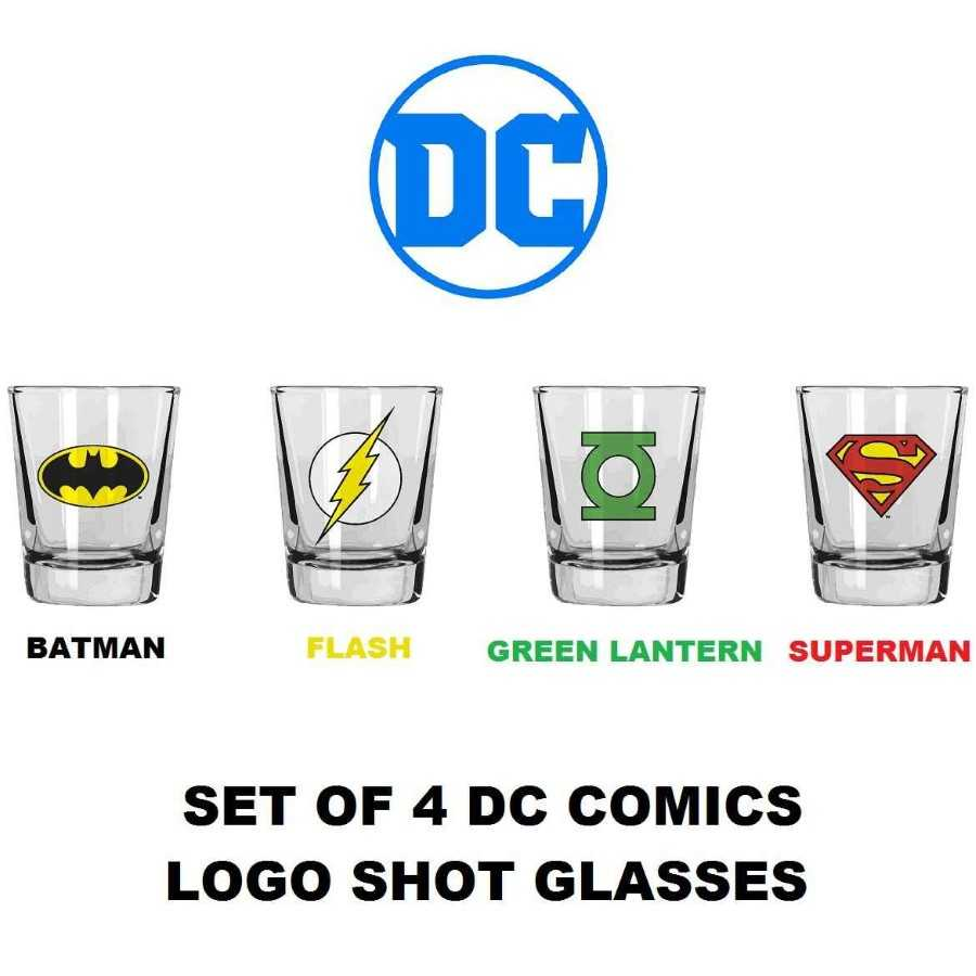 DC COMICS LOGOS SET OF 4 SHOT GLASSES FROM SD TOYS