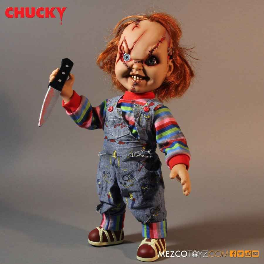 "CHILD'S PLAY CHUCKY 15"" MEGA SCALE SCARRED TALKING GOOD GUYS DOLL - UK EXCLUSIVE FROM MEZCO TOYZ"