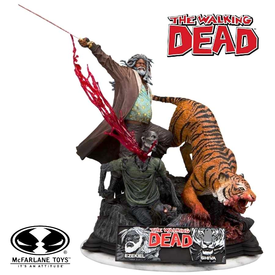 THE WALKING DEAD COMIC EZEKIEL AND SHIVA RESIN STATUE FROM MCFARLANE TOYS